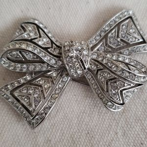 Kenneth Jay Lane Antique Crystal Bow Pin